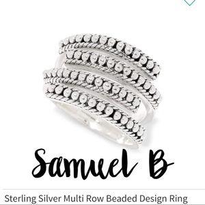 Multi row silver ring